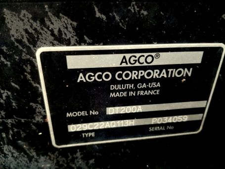 AGCO DT200A tractor ID card